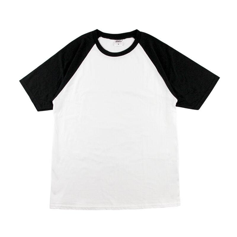 撞色插肩圆领T恤