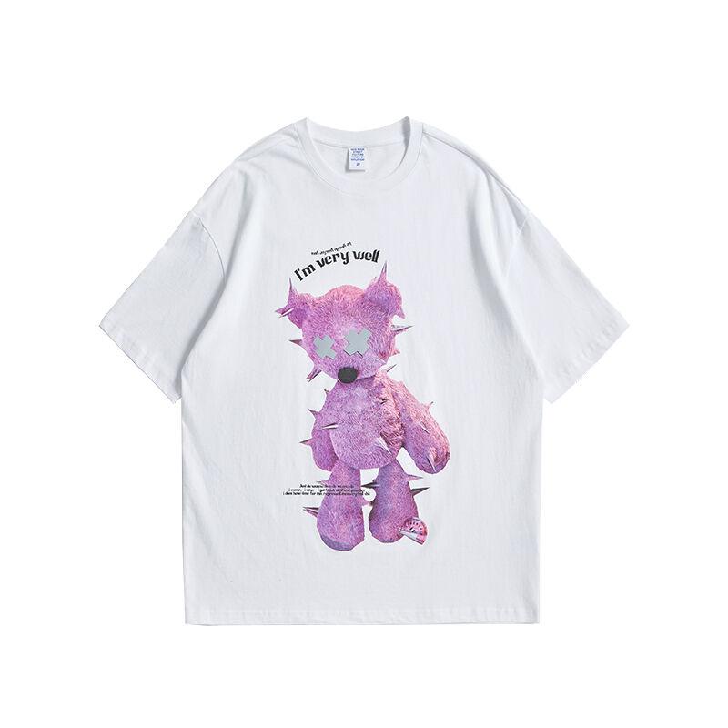 粉色小熊印花T恤